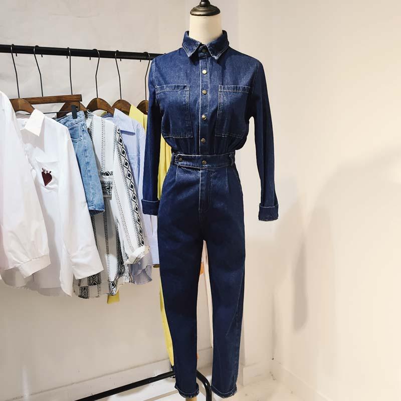 elegant denim jumpsuit blue jean pants Jumpsuit Bodysuit Women Denim Overalls Rompers