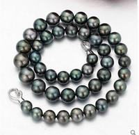 Popular 10 11mm tahitian black pearl necklace 18inch