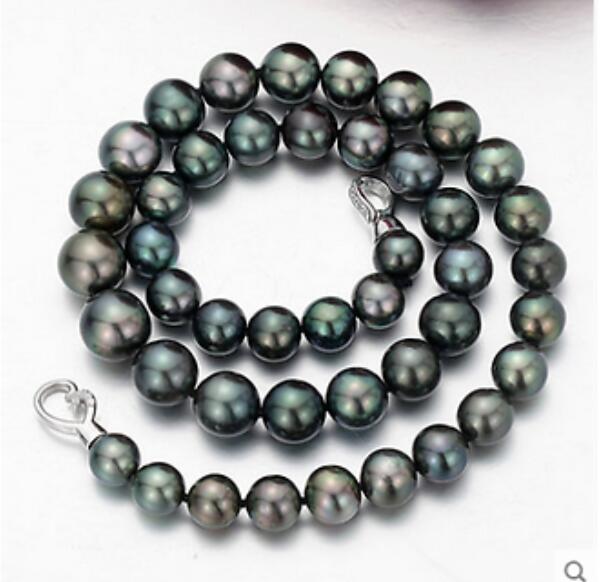 Collier de perles noires de tahiti 10-11mm populaire 18 pouces