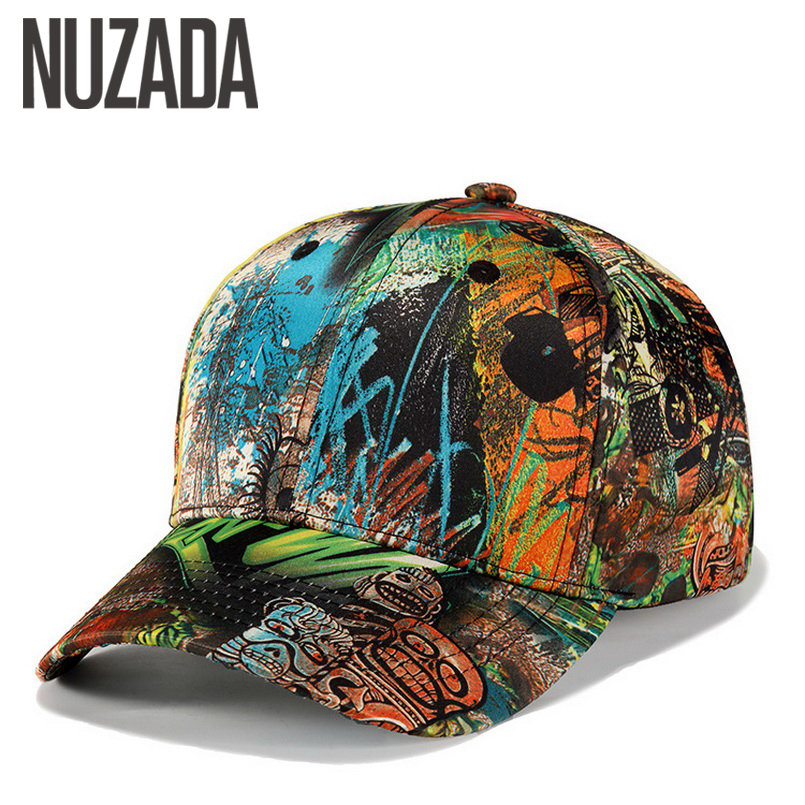 Brand NUZADA Unique 3D Printing Spring Summer Autumn Men Women Couple   Baseball     Cap   Cotton Street Art Bone Hats Snapback   Caps