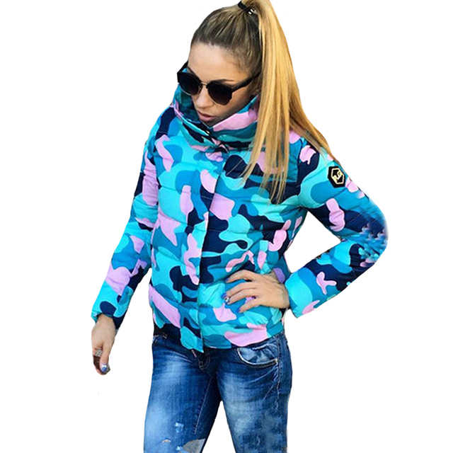 Autumn Winter Women Warm Blue Army Green Camouflage Cotton Coats Jackets Fashion Elegant Female Turn Down Collar Parka Outwear