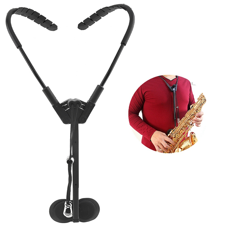 Adjustable Black Double Shoulder Saxophone Neck Strap Sax Stage Play Neck Belt Protect The Cervical Spine