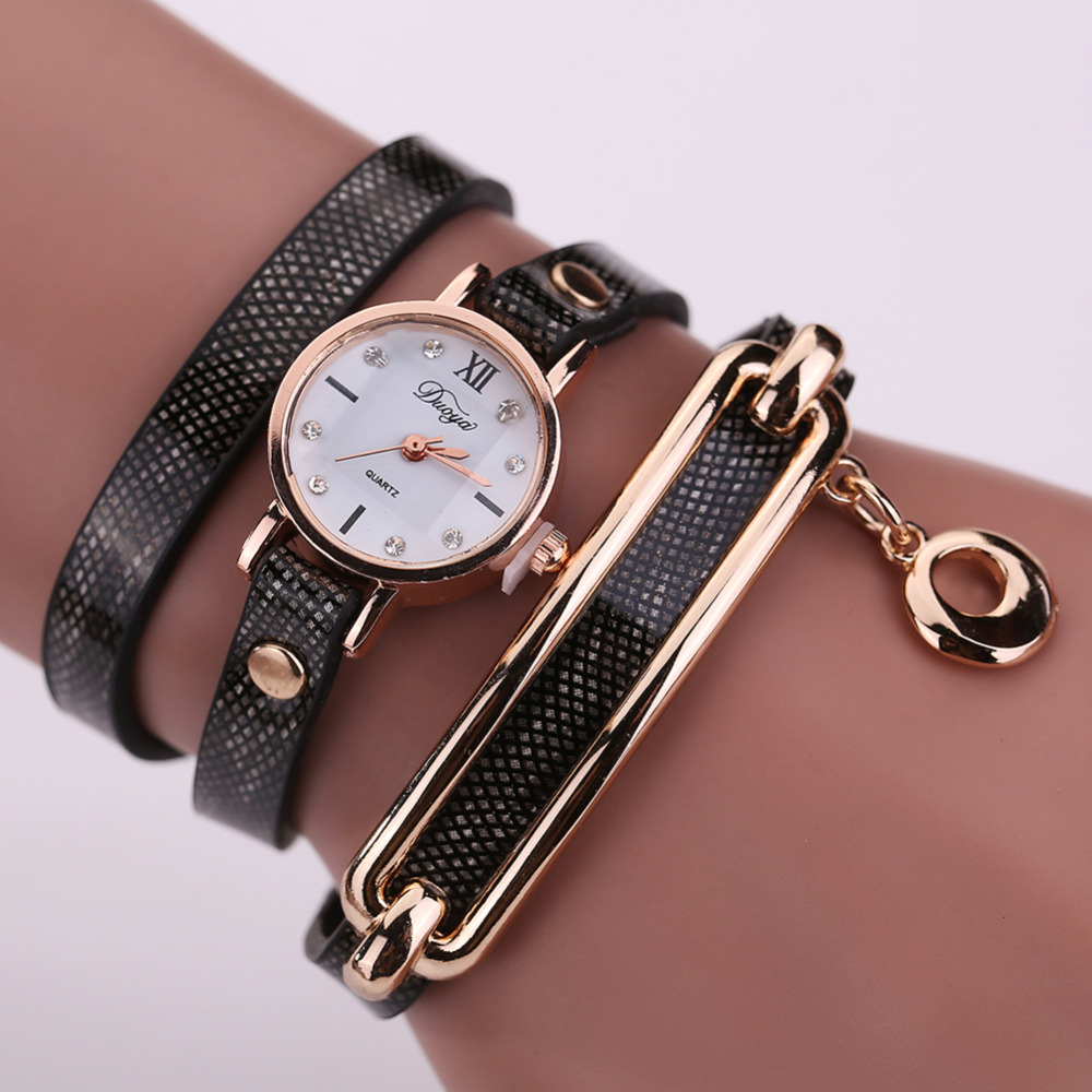 New 2017 Fashion Women Watch Leather Casual Watches Gold Quartz Bracelet Wristwatches Round Dress Watches Bracelet Watch Clock