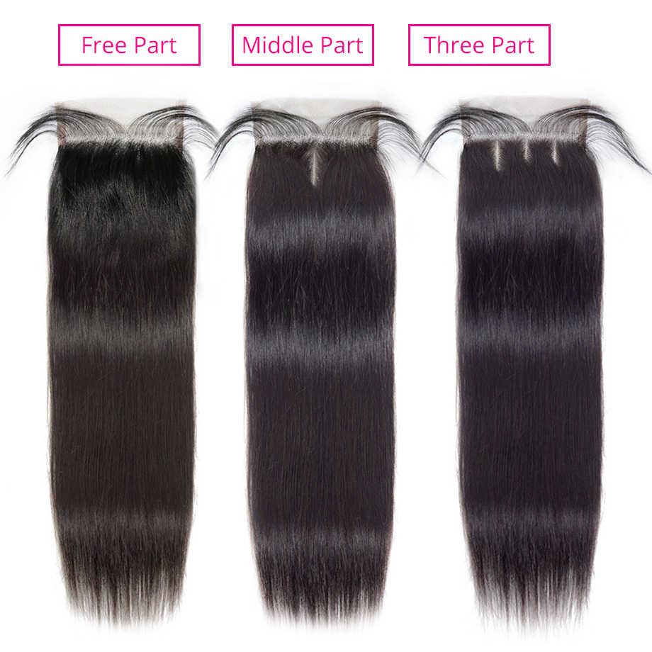 על ידי ברזילאי שיער Weave חבילות רמי שיער טבעי חבילות עם סגירה ישר שיער 3 חבילות עם 4x4 סגירת תחרה