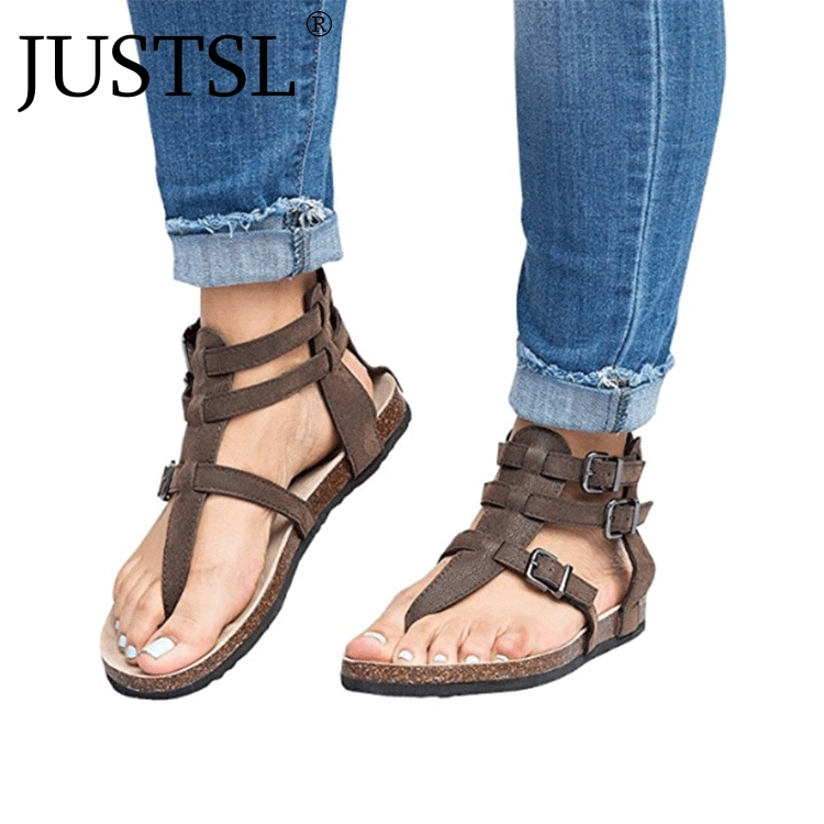 JUSTSL New Arrive Women Sandals Gladiator Summer Women Shoes Plus Size Flats Sandals Shoes For Women Casual Rome Style SandaliasJUSTSL New Arrive Women Sandals Gladiator Summer Women Shoes Plus Size Flats Sandals Shoes For Women Casual Rome Style Sandalias