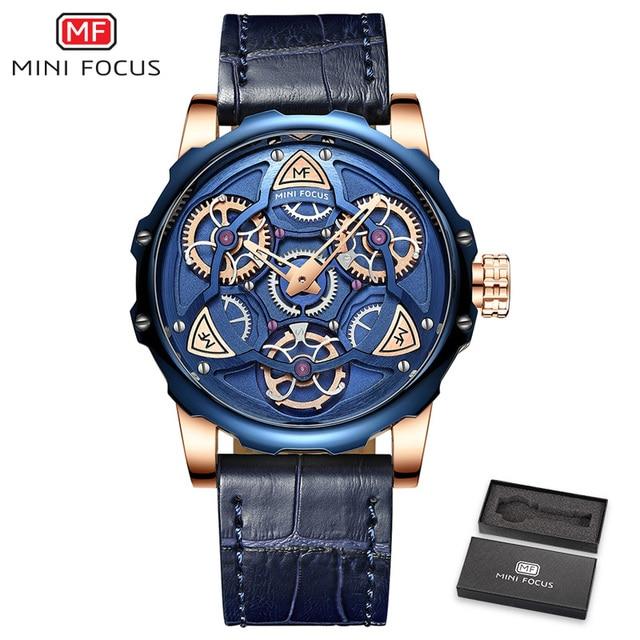 MINI FOCO Mens Relógios Top Marca de Luxo Projeto Do estilo Do Esporte Relógio de Quartzo Homens Pulseira de Couro Azul 30M À Prova D' Água Relogio masculino 5
