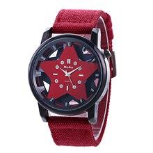 Мужские часы, новинка, известный бренд, повседневные кварцевые часы для женщин, пятиконечная звезда, холст, ремешок, наручные часы, Relogios Feminino, горячая Распродажа, красный