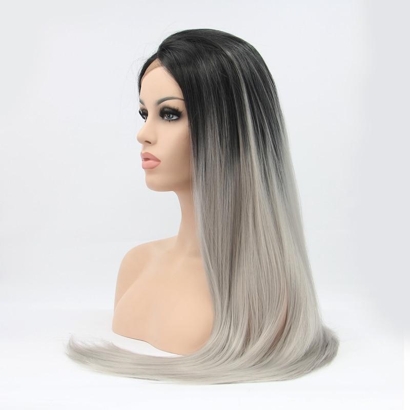 9a2ea29f0f3cf جذور similler النساء مستقيم طويل أسود رمادي أومبير الاصطناعية الشعر ...