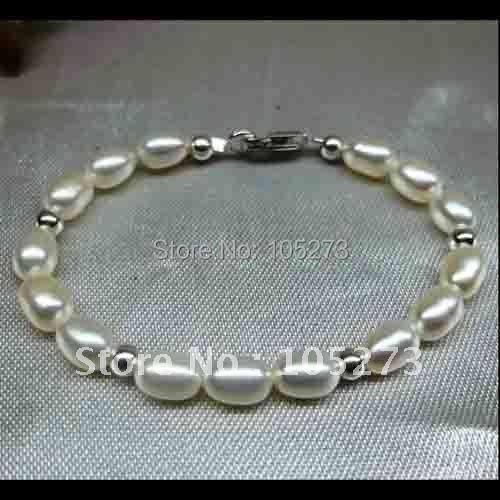 Girls Childs White Pearl Silver Bead Bracelet 925 Sterling