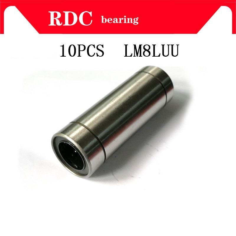 Free Shipping 10 pcs LM8LUU 8mm High quality Longer Linear Ball Bearing Bushing Linear Bearings CNC parts 3d printer parts LM8L 8pcs lot sc8v scv8uu 8mm linear bearing bushing lm8uu linear ball bearing for 8 mm linear shaft