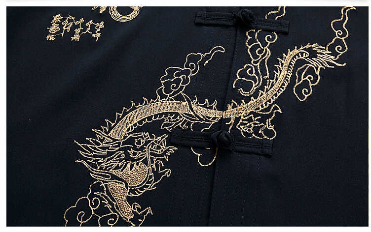 Темно-синие с вышивкой дракона Китайский Для мужчин форма для занятий кунг-фу, хлопок форма для ушу с длинным рукавом Тай Чи набор M L XL XXL XXXL MS010