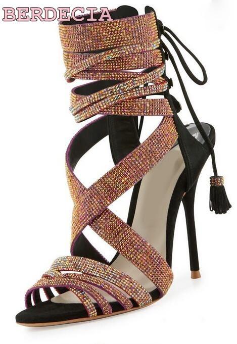 9df5047dbfd Shinny women rhinestone strappy high heel sandals peep toe ankle strap  sandal boots dress pump bridal wedding shoes big size