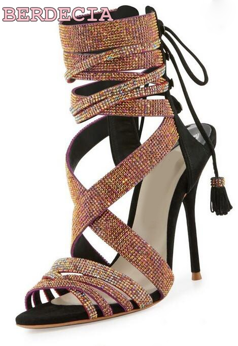 Shinny women rhinestone strappy high heel sandals peep toe ankle strap sandal boots dress pump bridal wedding shoes big size