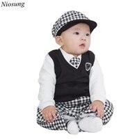 Niosung 5pcs Kids Baby Boys Long Sleeve T Shirt Tops Vest Necktie Hat Trousers Set Clothes