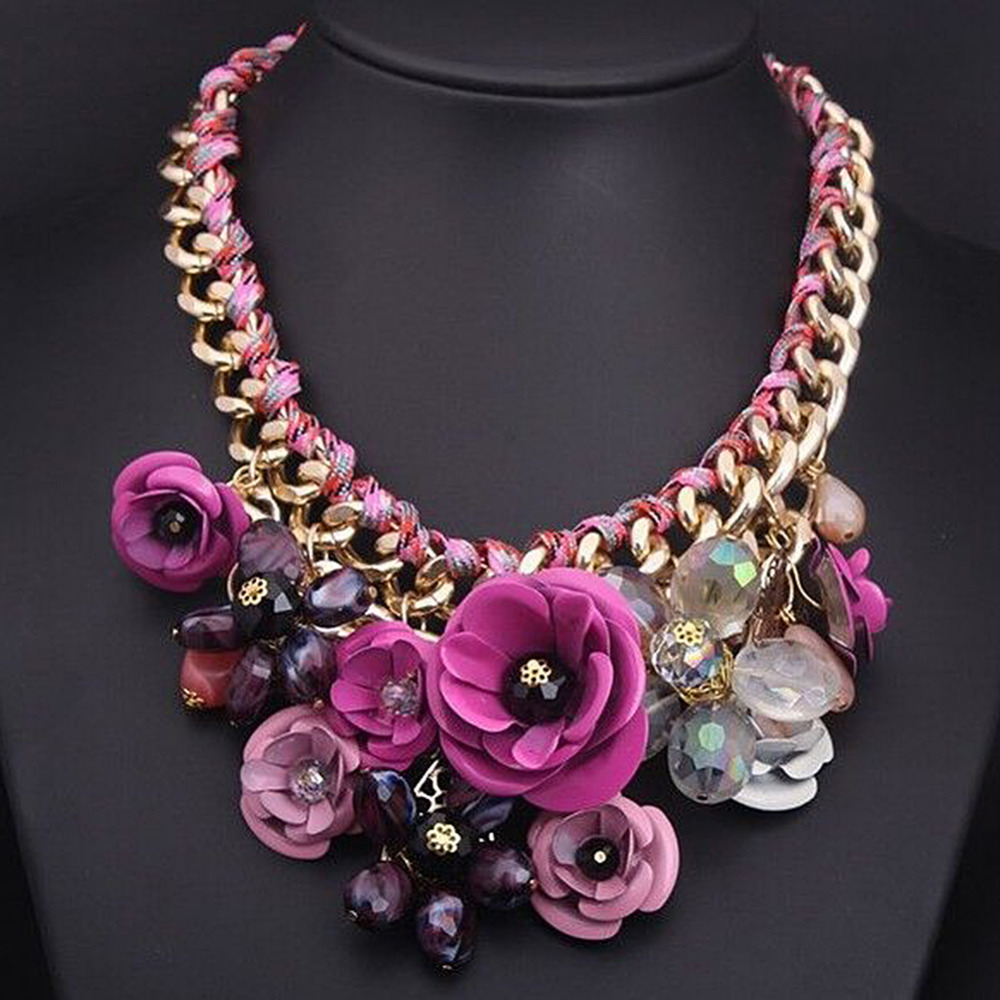Fashion Big Arylic Flower Pendant Crystal Chunky Choker Bib Statement Necklace for Women Party Luxury Jewelry vintage tribal jewelry natural yak bone carving totem beaded strand choker chunky statement bib necklace for women men
