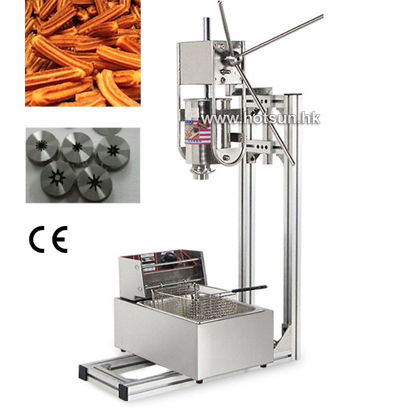 Free Shipping 3 in 1 Commercial Stainless Steel 3L Vertical Manual Donut Spanish Churros Machine Maker 1 set stainless steel manual movable sugarcane juicer made in china popular commercial use blender machine for sugarcane