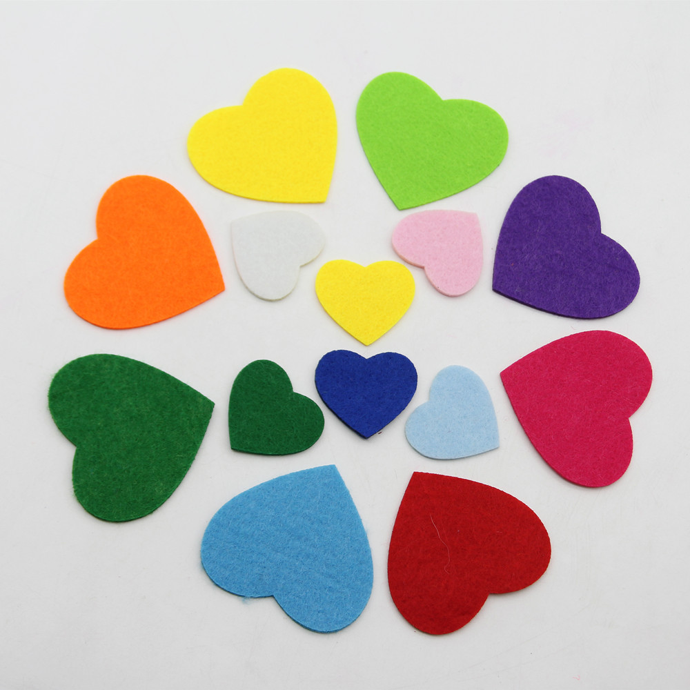 30pcs Colorful Non-Woven Love Heart Cutting Felt For Clothes Appliques Patches Sewing Accessories Scrapbooking Home Decor Crafts