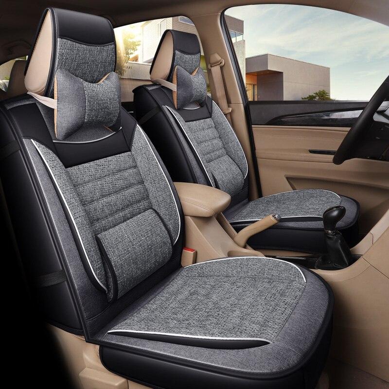 2019 nouveauté pas se déplace 4 saisons lin siège de voiture coussin lin mode universel siège couvre non toboggan auto coussins de siège