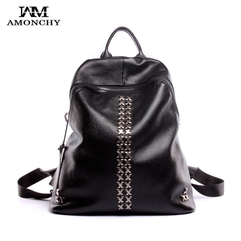 100% Genuine Leather Women Backpacks Fashion Rivet Backpack Famous Brand Female Backpacks College Shoulder Bags Casual Backpack fashion design women backpack leather star rivet black female youth satchel