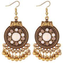 9f29ba503 Women Vintage Metal Beads Tassel Drop Earring Ethnic Long Classic Drangle  Earrings Indian Jewellery Ear Hook Earings-in Drop Earrings from Jewelry ...