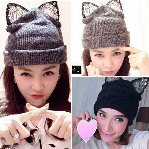 цены 2016 NEW Autumn and winter fashion brand knitting Warm cat wool hat beanie skullie with gems lace evil ear accessories