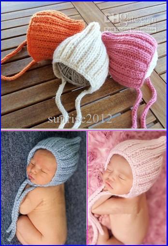 QYFLYXUE-2014 Nueva llegada bebé crochet sombreros Newborn Knit Baby Girl Hat con flor muy lindo foto prop regalo