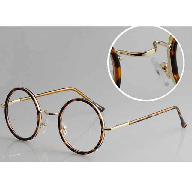 12b82dcf57 45mm Vintage Round Spring Hinges Eyeglass Frames Myopia able Full Rim  Glasses Spectacles Computer Anti Rx able