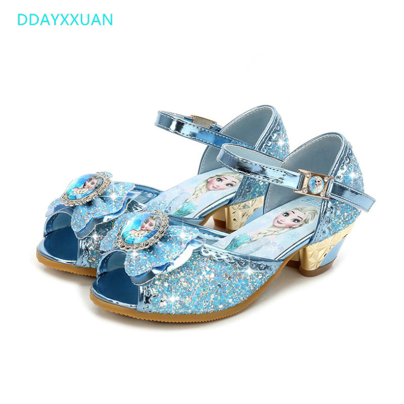 Girls Sandals High Heels New Summer Children Fashion Princess Leather Elsa Shoes Kids Chaussure Enfants Fille Sandalias Nina