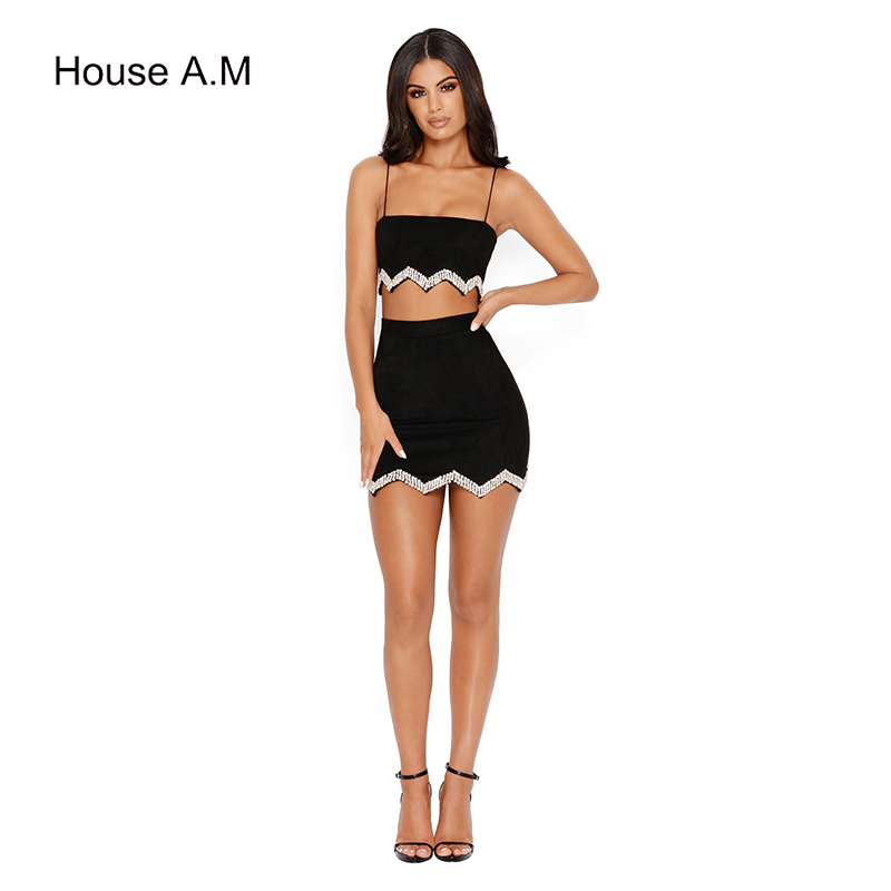 Pearl Women's Suit 2 PCS Summer Set off Shoulder Crop Top Mini Skirt Two Piece Female Sexy Club Party Women Clothing Bikini Op