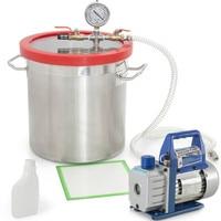 220V 2L Rotary vane Vaccum Pump 5L Vacuum Buckets 200*200mm Stainless Steel Vacuum Degassing Chamber