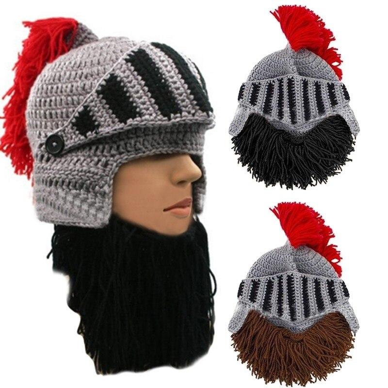 Viking Wizard Mask Ski Cap Crochet Knit Hat With Bearded Winter Black Hat Tassel
