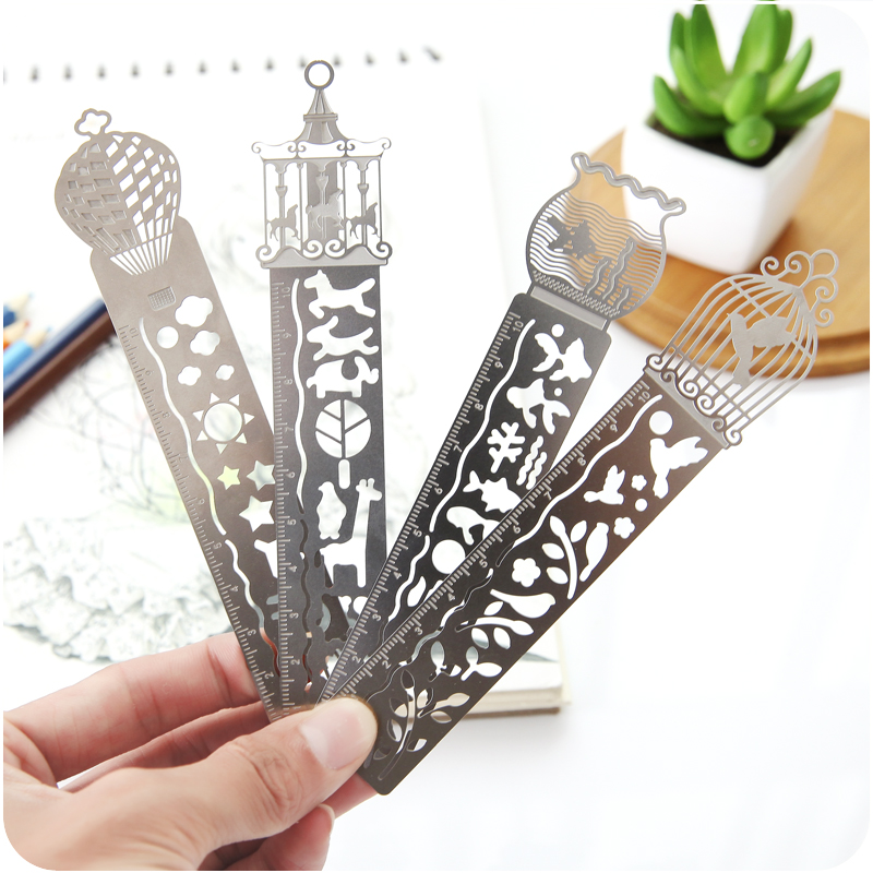 1 Pc Cute Kawaii Creative Horse Birdcage Hollow Metal Bookmark Ruler For Kids Student Gift School Supplies
