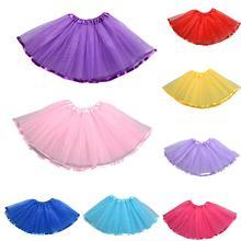 цены на 3 Layer Kids Girls Solid Color Mesh Ballet Dance Pettiskirt Party Tutu Skirt for girls princess  в интернет-магазинах