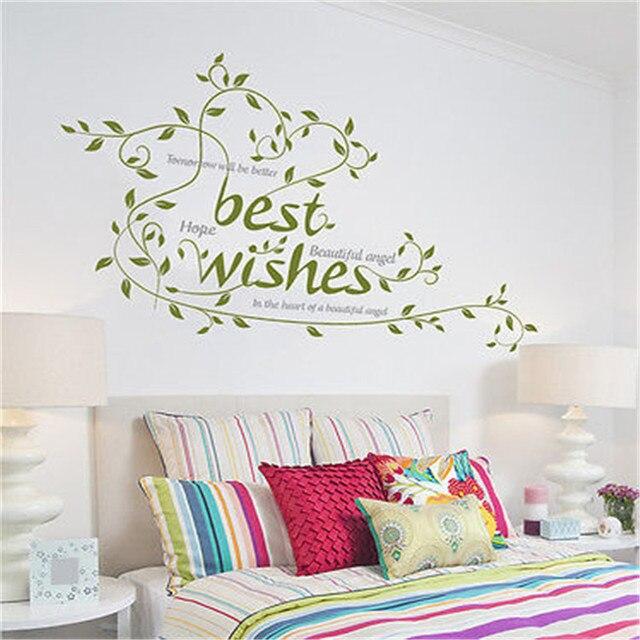 Large Best Wishes Words Flowers Vine Wall Decals Vinyl Sticker ...