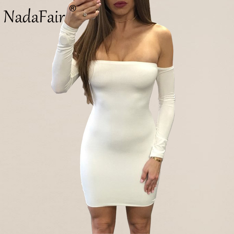 db65981726f Nadafair 95% Cotton Off Shoulder Backless Criss Cross Long Sleeve Sexy Club  Bodycon Bandage Party