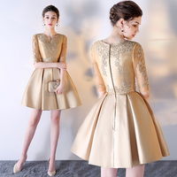 Robe De Soiree Short New Luxury Gold Lace Evening Dress Custom Made O neck Short Evening Dresses Sexy Bride Gown