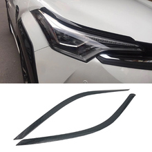 For Toyota C-HR CHR 2016-2018 ABS Carbon Fibre Car body head front Eyebrow light lamp Cover Trim Car Styling accessories 2Pcs citall 2pcs abs black headlight head lamp light brow deco cover trim sticker car styling fit for toyota camry se xse 2018 2019