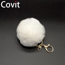 Fluffy Pompon Fur Ball Key Chain For Women Faux Rabbit Fur Pompom Keychain Charm Bag Key Ring Holder Jewelry Christmas Gift(China)