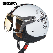 BEON รถจักรยานยนต์ Vintage Retro หมวกกันน็อกสกู๊ตเตอร์3/4รถจักรยานยนต์ Casco Capacete Cafe Racer ขี่ Chopper จักรยานหมวก B 100B