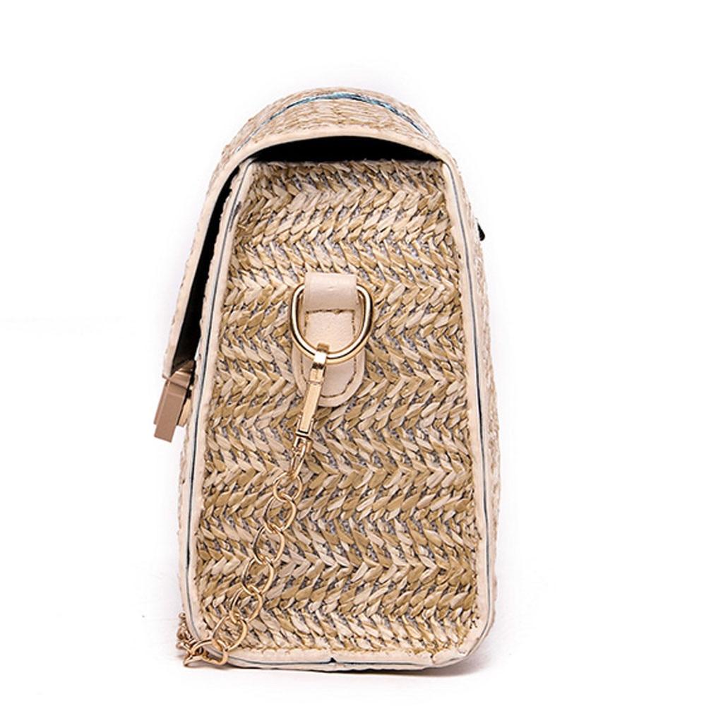 Fashion Straw Crossbody Bag with Woven Pattern