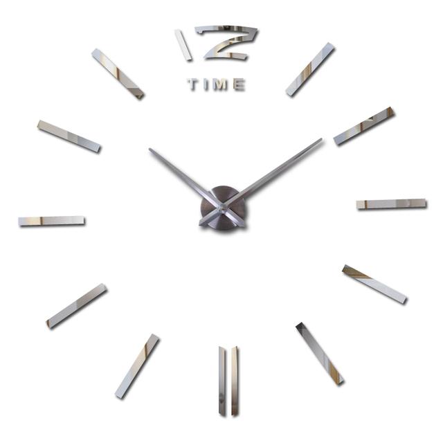 2017 new arrival 3d home decor quartz diy wall clock clocks horloge watch living room metal Acrylic mirror 20 inch