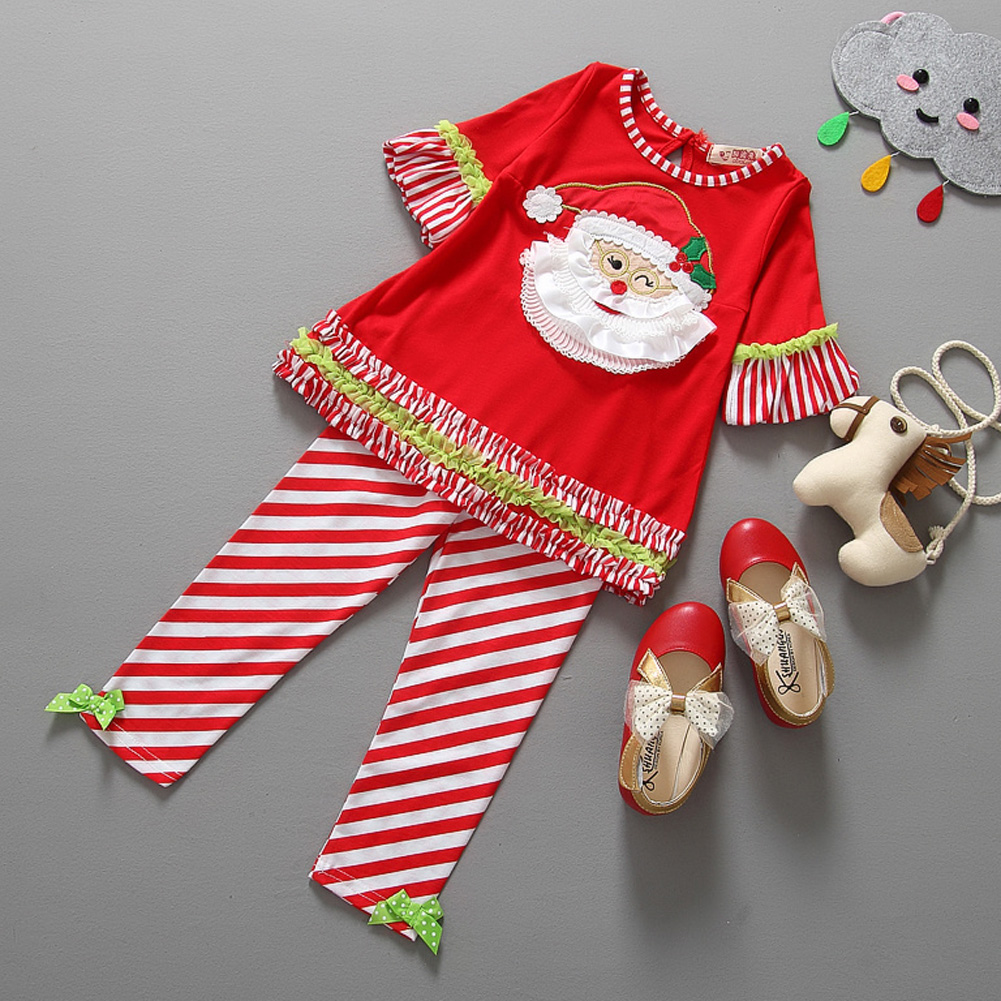 Autumn Winter Kids Girls Christmas Clothes Set Santa Claus Printed Tops+Striped Pants 2pcs Clothes Outfit Set 0-4Y 2pcs children outfit clothes kids baby girl off shoulder cotton ruffled sleeve tops striped t shirt blue denim jeans sunsuit set