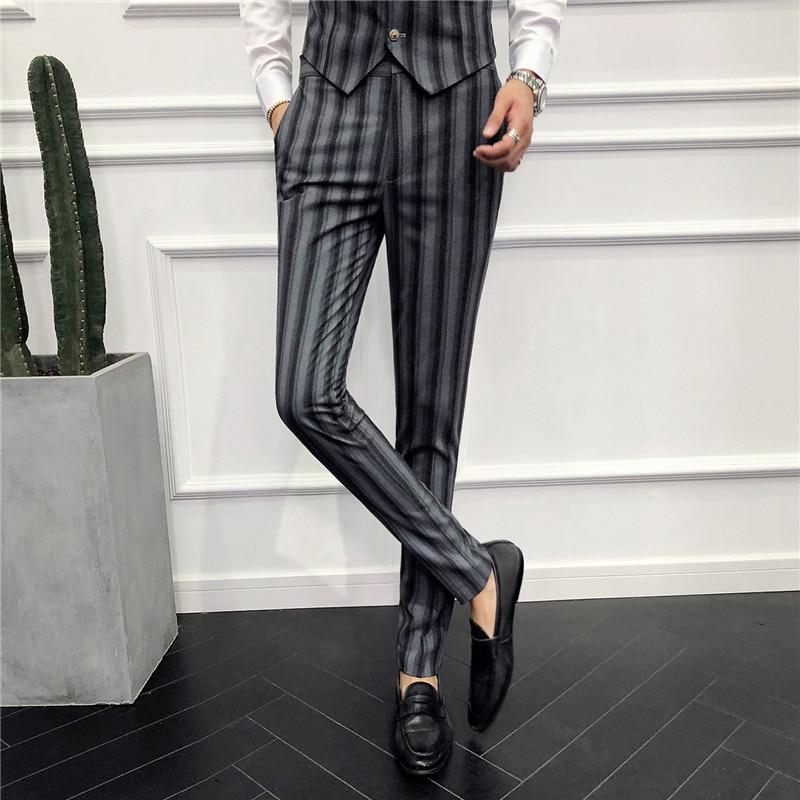 TANG 2019 Mannen Business Bruiloft Pak Broek Klassieke Heren Gestreepte Jurk Broek Zwart Grijs Slanke Elegante Mens Plaid Broek