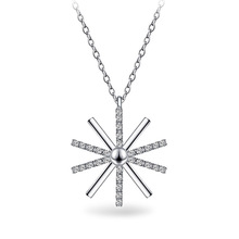 Trendy Cute Snowflake Pendant Chokers Necklace 925 Sterling Silver With Shiny AAA Crystal Jewelry For Woman Girls