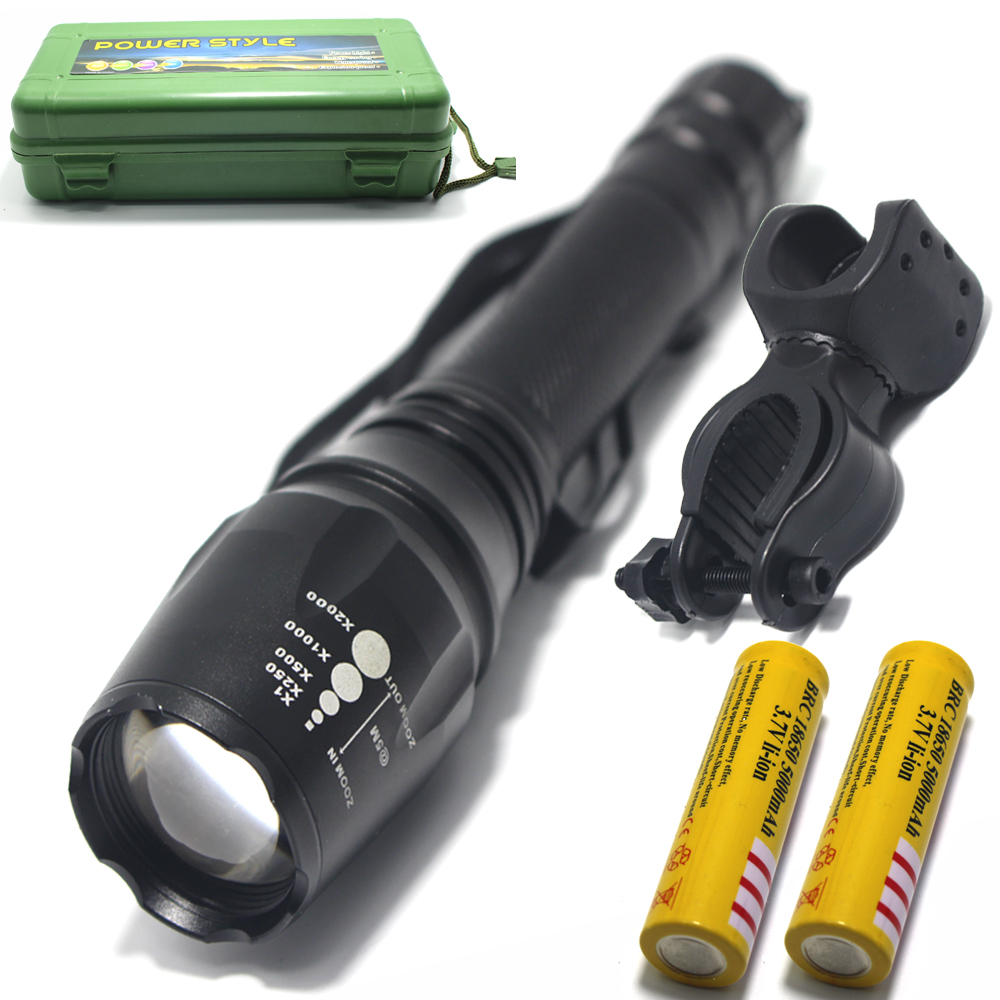 Zoom 18650 LED Flashlights 5000 lumen XM-L T6 zoomable led torch tactical flashlight +2x18650 battery/Bike clip/Charger/box 5000 lumen led flashlight cree xml t6 5 mode zoomable tactical torch flashlight with clamp 2 x 18650 battery 1 charger