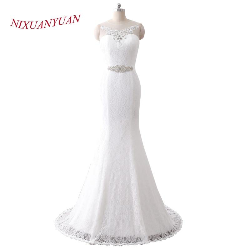 NIXUANYUAN 2018 New Elegant Vintage Bridal Wedding Gown Real Photos White Lace Mermaid Wedding Dress 2018