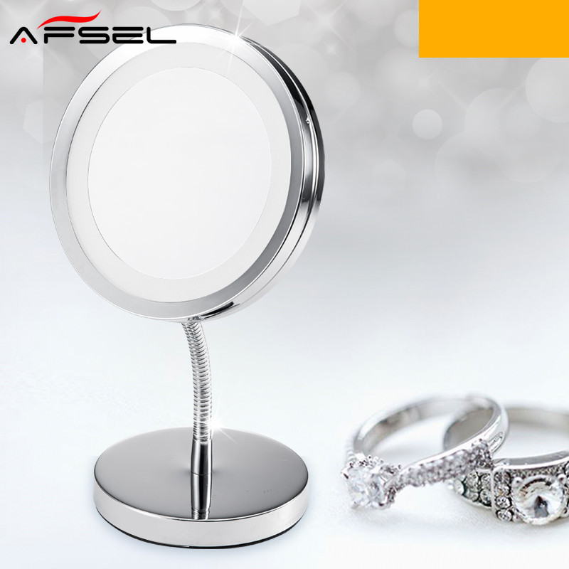 AFSEL Special offer 6 Inch Led Cosmetic Mirror with Light One side 3X 4pcs AAA Battery Makeup Mirror with Light Table Stand