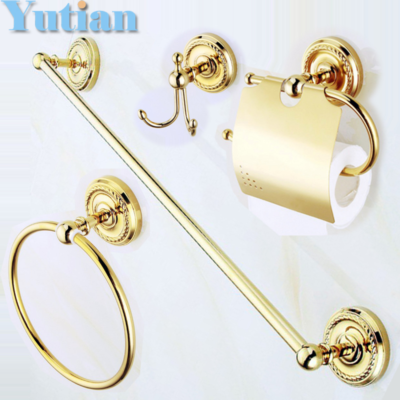 Free shipping solid brass GOLD Bathroom Accessories Set Robe hook Paper Holder Towel Bar Soap basket