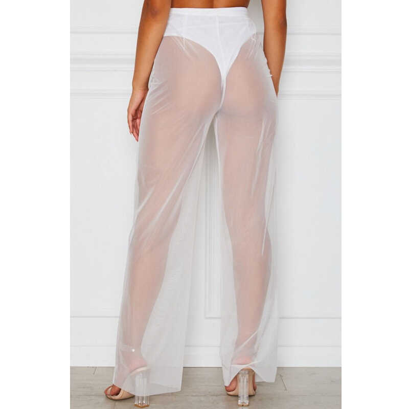 51934e1a86 ... Womens Flared Pants Swimwear Women Transparent Black White High Waist  Leg Mesh Swim Trousers See Through ...
