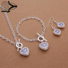 Hot Sell Silver Plated Jewelry Set,Cheap Bridal Party Sets,Inlaid Stone Heart Pendant Fashion Silver Necklace Bracelet Earring